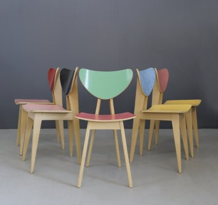 Set of 5 chairs in wood & formica, 1950s