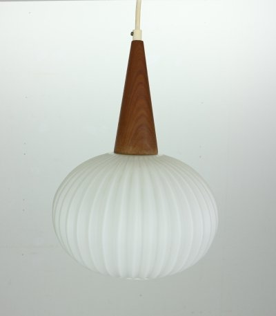 Milk Glass & Teak Wood Pendant Lamp by Louis Kalff for Philips, Netherlands 1960s