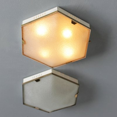 Pair of Hexagonal 4-light flush mounts or wall lamps by Stilnovo Milano (marked)