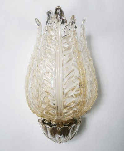 Venini Wall Lamp in Murano glass, gold & Brass, 1930s