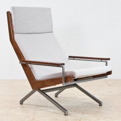 Rob Parry Lotus armchair in teak & grey fabric, 1960s