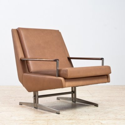 Modern lounge chair in tan leather & rosewood by Louis van Teeffelen, 1960s