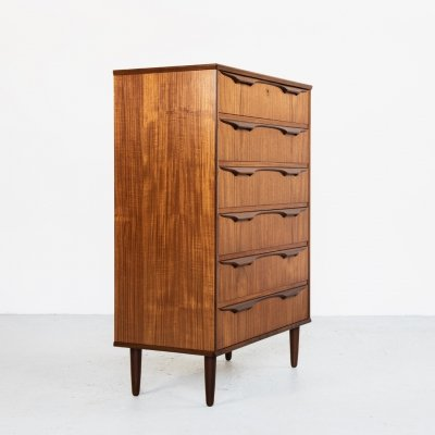 Danish chest of 6 drawers in teak by Klaus Okholm, 1960s