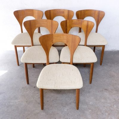 Set of 6 'Peter' Dining Chairs in Teak by Koefoeds Hornslet
