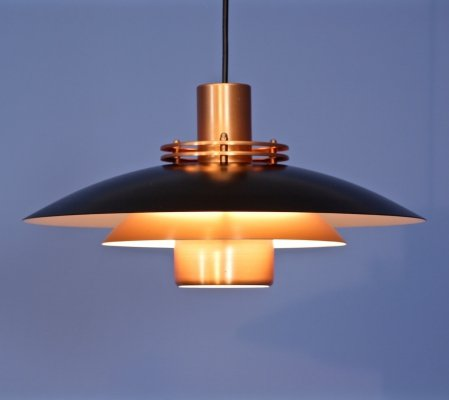 Danish pendant in black & solid copper by Form Light, 1970s