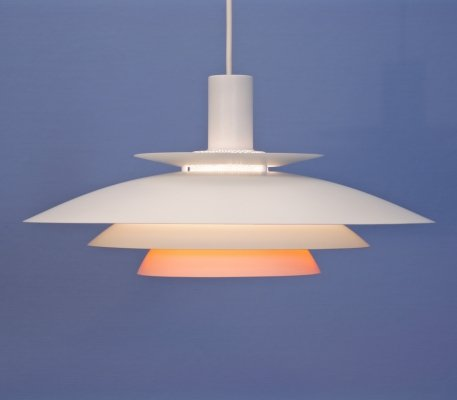 Danish pendant in white with terra / orange accent by Form Light, 1970s