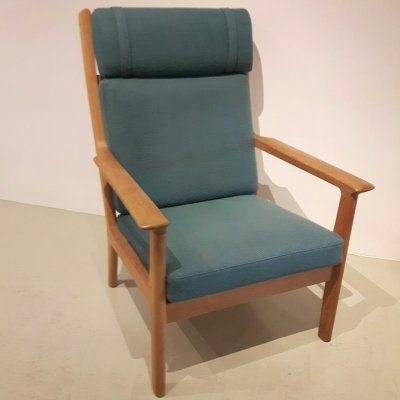 Turqois blue GE265 High Lounge Chair by Hans Wegner for Getama, 1970s