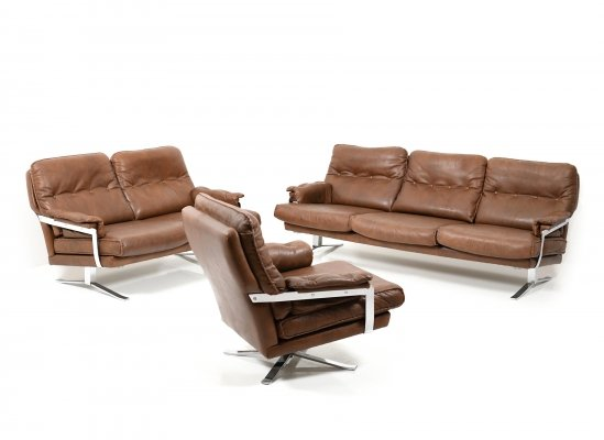 Vintage Hand-Stitched Leather & Chrome Seating Group by Arne Norell, 1960s