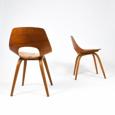 Pair of French Bentwood chairs, 1950s