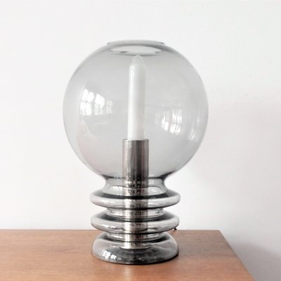 Vintage smoked glass table lamp, 1970's