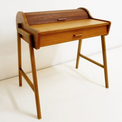 Small Danish Modern Teak Rolltop Furniture with one Drawer, Denmark 1950s