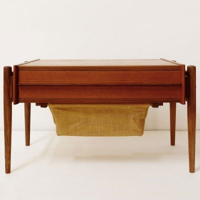 Mid-Century Danish Modern Teak Sewing Table, Denmark 1950s