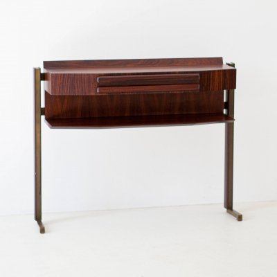 Italian Midcentury Modern Rosewood & Brass Console Table
