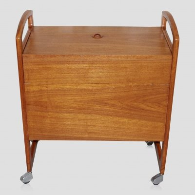 Vintage teak Scandinavian mid century small bar / drinks trolley, 1960s