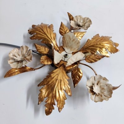 Vintage gilded flower wall lamp, 1960s