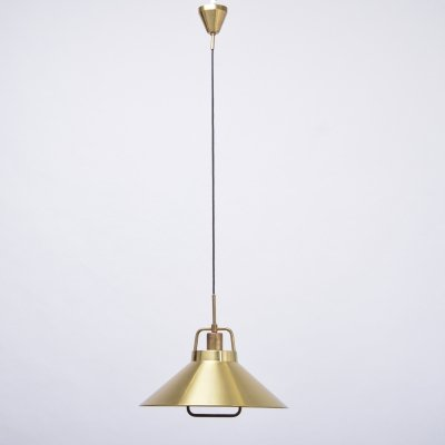 Vintage Danish brass pendant lamp by Lyfa, 1960s