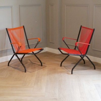 Set of 2 Folding Arm Chairs by André Monpoix, 1950s