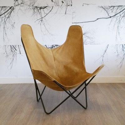 Metal & Suede Butterfly or BKF Chair, 1960s
