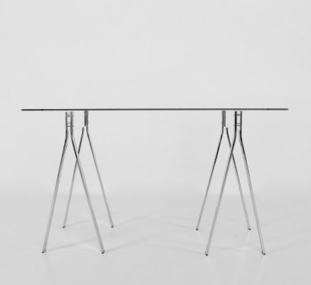 Minimalist glass desk with chrome & lucite legs