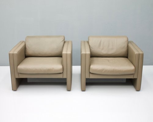 Pair of Walter Knoll 'Studio' Lounge Chairs in Light Brown Leather, 1975