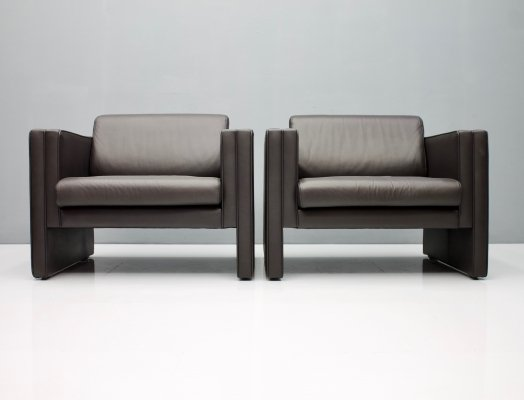 Pair of Walter Knoll 'Studio' Lounge Chairs in Dark Blue Leather, 1975