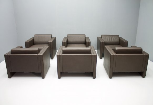 Set of Six Lounge Chairs by Walter Knoll in Chocolate brown Leather, 1975