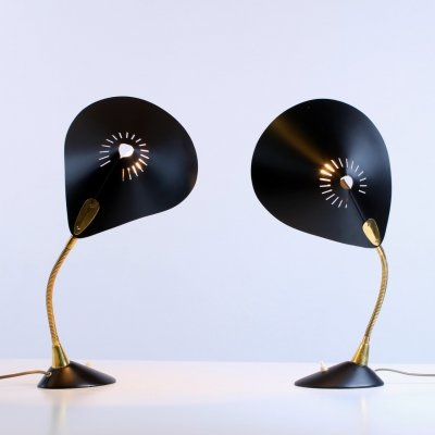 Black & brass adjustable fifties lights by Cosack Germany