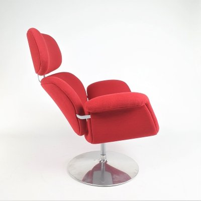 Red Big Tulip lounge chair by Pierre Paulin for Artifort, 1970s