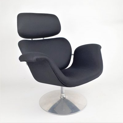 Black Big Tulip lounge chair by Pierre Paulin for Artifort, 1970s