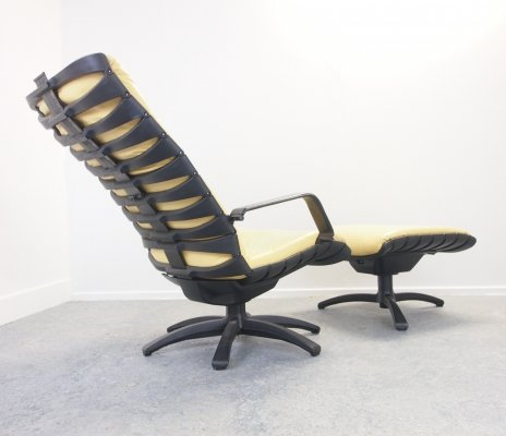 Antropovarius lounge chair with footstool by F.A. Porsche for Poltrona Frau, 1980s