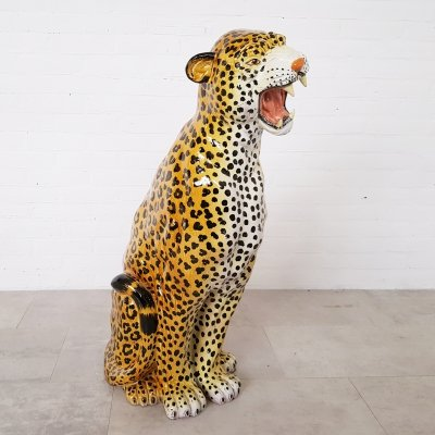 Hand painted ceramic leopard from Italy, 1950s