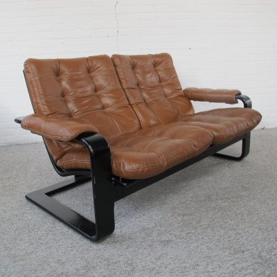 Vintage 2-Seater Leather Sofa from Lystolet, 1970s