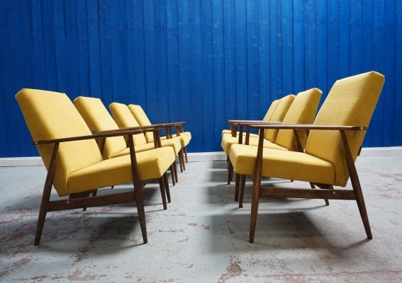 8 x H. Lis Mid Century Armchair in Yellow, 1970's