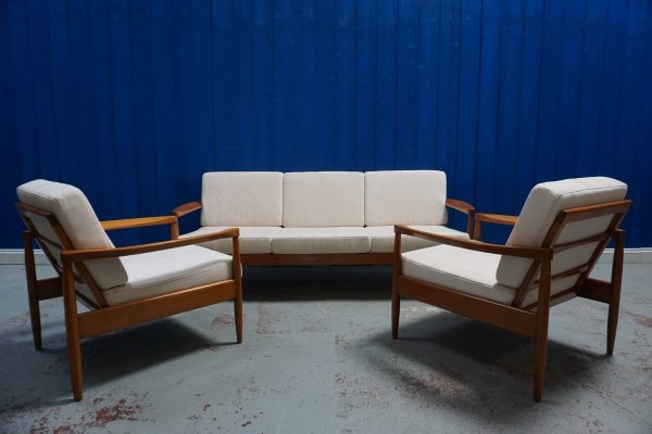 3 + 1 + 1 Mid Century Modern Danish Living Room Set with Sofa & Armchairs