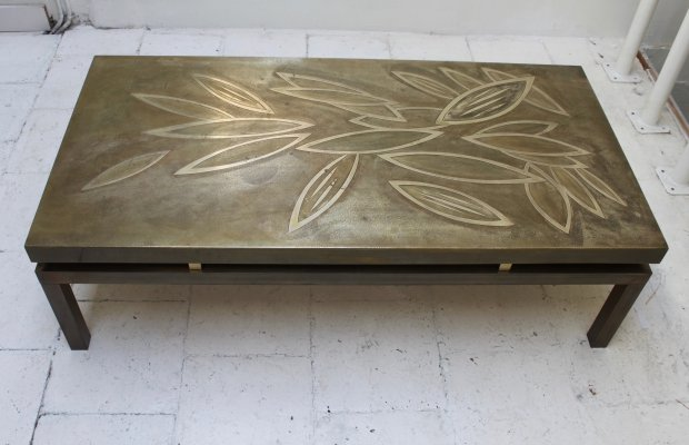 Acid etched brass coffee table by Willy Daro