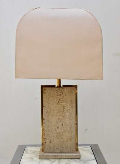 Table lamp with travertine & brass base