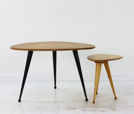 Kidney shaped coffee table & stool by Cees Braakman for Pastoe, 1960s