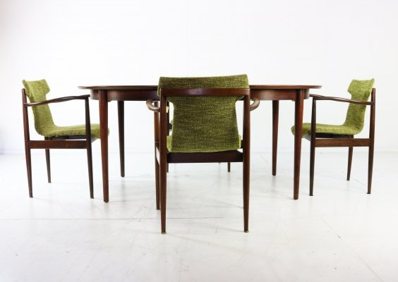 Incredible rosewood armchair dining set by Inger Klingenberg