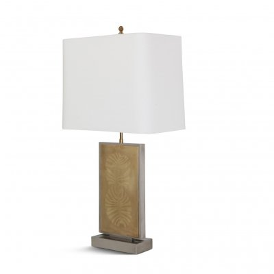 Roger Vanhevel Brass Etched Impressive Table Lamp, 1970s