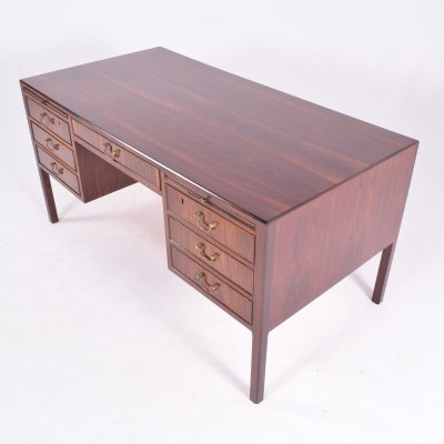 Danish Rosewood Executive Desk by Ole Wanscher for A.J. Iversen, 1950s