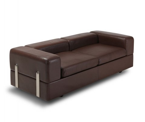 Brown Leather Daybed Sofa 711 by Tito Agnoli for Cinova, 1970s