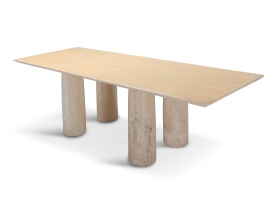 Travertine 'Il Colonnato' Dining Table by Mario Bellini, 1970s