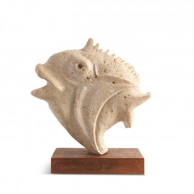 Travertine Moonfish Sculpture, 1970s
