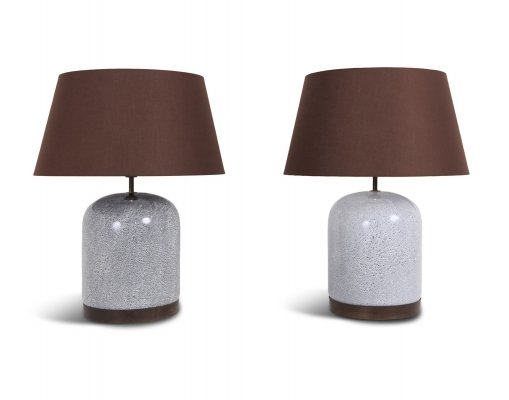 Pair of Black & White Speckled Ceramic Lamps with Brown Shades, 1980s