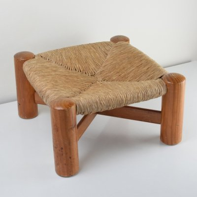 1950s Wim den Boon stool in pine & wicker