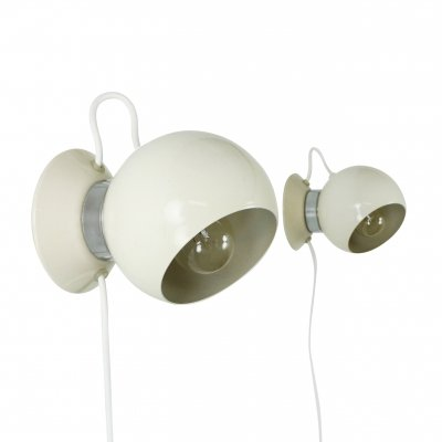 Pair of adjustable globe magnet wall lights, 1970s