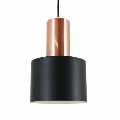 3 x Black metal & copper Scandinavian pendant, 1960s