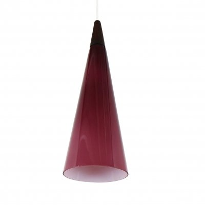 Purple glass cone shaped pendant light by Holmegaard, 1960s