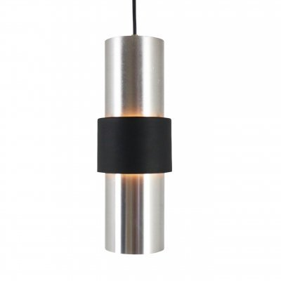Aluminium & black metal B-1198 pendant light by Raak Amsterdam, 1960s