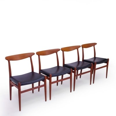 Set of 4 Hans Wegner W2 Chairs in Teak, 1950s